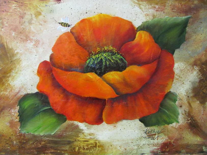 Poppy and the Bee - 12x16 - Mixed media painting of of a poppy flower and a bee by Kathie Widing - www.kathiewiding.com