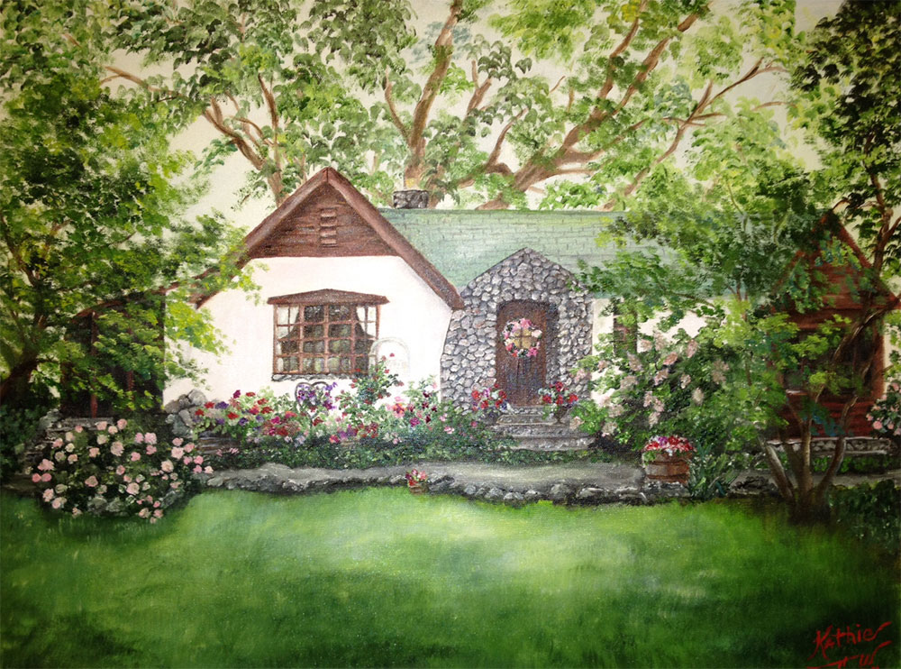 Home Sweet Home - Painting by Kathie Widing